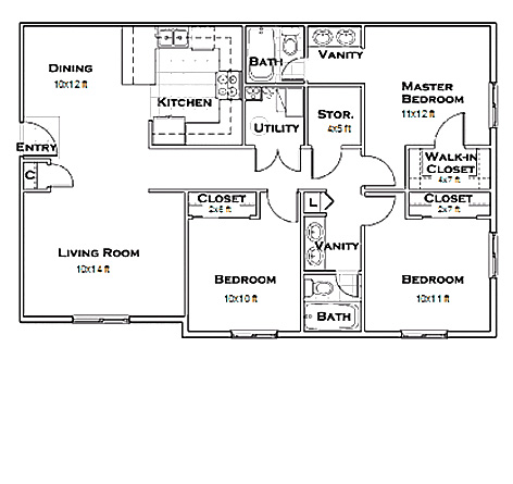 On C us on 750 sq ft floor plan
